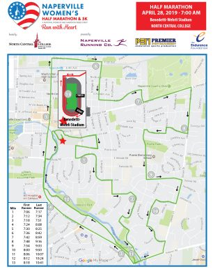 Naperville Women's Half Marathon Course Map